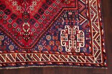 Geometric Tribal Red Abadeh Area Rug Hand-Knotted Living Room Wool Carpet 6'x9'