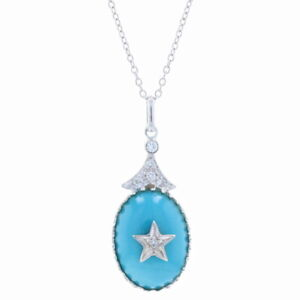 """White Gold Turquoise & Diamond Star Pendant Necklace 16 1/4"""" - 14k Oval .10ctw"""