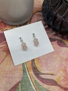 Pink Rose Quartz Handmade Stud Earrings 925 Sterling Silver Free P+P