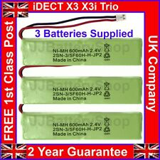 3x Batteries for iDECT X3 X3i Trio Cordless Phones 2.4V 600mAh NiMH UK Guarantee