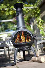 La Hacienda LISBON XL Garden Chimenea Chimnea Fire Pit Cast Iron Patio Heater