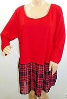Kristin Nicole Women Plus Size 1x 2x 3x Red Check Plaid Tunic Top Blouse Shirt