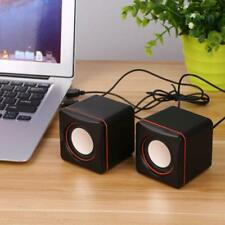 Portable Square Wired Speaker Mini Computer Desktop USB Stereo Music Player NEU
