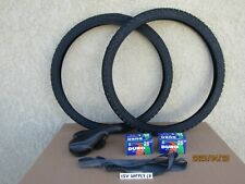 [2] 26'' X 1.95 ALL BLACK BICYCLE TIRES & BLACK SEAT, [2] TUBES & [2] LINERS