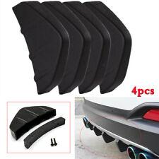 4x Car Rear Bumper Lip Diffuser Shark Fins Splitter Stylish Universal ABS Black