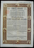 5% Teilschuldverschreibung der Fried. Krupp 1000 Mark 1921 unentwertet + Kupons