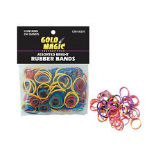 GOLD MAGIC ASSORTED COLOR RUBBER BANDS - 250/PK