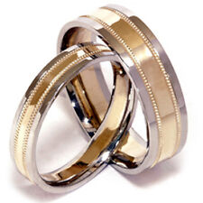 His & Hers Two Toned White & Yellow Gold  Wedding Band Set