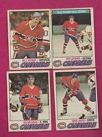 1977-78 OPC  CANADIENS HOULE + JARVIS + LAPOINTE + NYROP  CARD  (INV# A3228)