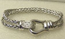 Sterling Silver Spiga Link Bracelet with Diamond Buckle Clasp -7.5""