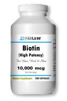 BIOTIN 10,000mcg 10000 mcg 200 Capsules Hair Nail Skin Health High Potency