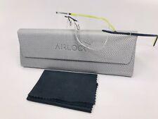 New Marchon Airlock Titanium Slate Blue ENDLESS 204 434 Eyeglasses 52mm w/ Case