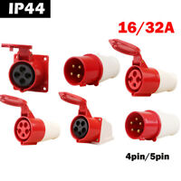 Red 240/380-415V 16A 32A 4Pin 5 Pin Industrial Plug&Sockets IP44 3 Phase 3P+N+E