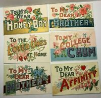 "VINTAGE LARGE LETTER POSTCARD LOT OF 6 ""MOTTO SERIES 1"" VARIETY GREETINGS, EMBOS"