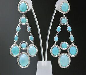 David Yurman Sterling Silver Diamond Turquoise Renaissance Chandelier Earrings