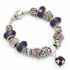 925 Silver Plated Rhinestone Crystal European Charm Beads Bracelet Cuff Bangle