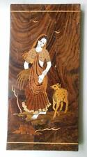 Wood and Bone Marquetry Plaque Picture Woman with Deer 12 x 6""