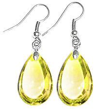 Teardrop Crystal Glass Beads Drop Dangle Earrings Earwires Silver Tone Ear Hooks