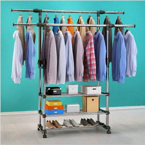 Double Clothes Rail Garment Coat Hanging Display Stand Shoes Rack With Wheels UK
