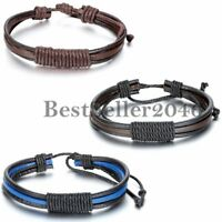 Women's Men's Punk Rock Surfer Wrap Multilayer Leather Cuff Adjustable Bracelet