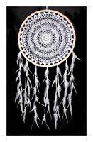 Edler XXL Indianer Rattan häkel Traumfänger 43/95 cm. Crochet WEISS UNIKAT WHITE
