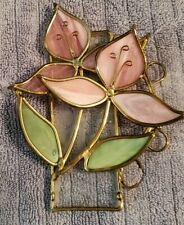 """Leaded Stained Glass Flower Bouquet 6""""X 6"""" Pink and green"""