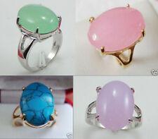 Schöne 13 * 18mm grüne rosa lila blaue Jade Mode 18 KGP Ring