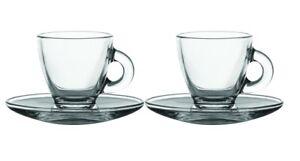 2 Glass Espresso Cups & Saucers Serving Set 8cl 80ml Coffee Shot Mugs