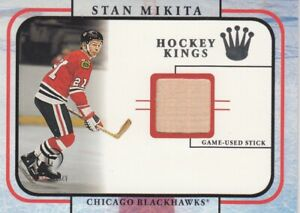 STAN MIKITA AUTHENTIC GAME-USED STICK in FLEER SKYBOX 2002