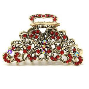 NEW Large elegant rhinestones crystal metal butterfly design hair claw clip jaw