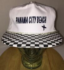 Vintage PANAMA CITY BEACH Hat Cap Surfer Snapback Checkard Bill Braided Cord
