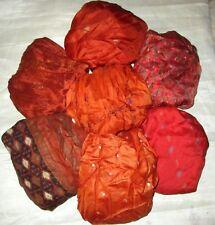 LOT PURE SILK Vintage Sari REMNANT Fabric 7 Pcs 1 ft Rust Cushion #,AEKN