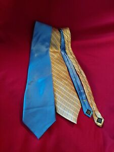 Lot Of 2 Donald J. Trump Signature Collection Gold and Blue Ties