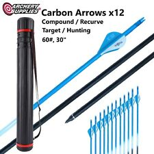 "12x Carbon Arrows 60#, 30"" with Adjustable Case for Target & Hunting Archery"