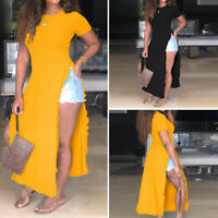 Women Plus Size Short Sleeve Tops High Slit Sexy Party Blouse Casual T Shirt Tee
