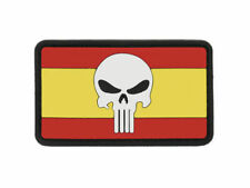 BANDERA SPAIN FLAG SKULL PUNISHER PVC PATCH MORALE SPAIN AIRSOFT VELCRO® 80x45mm