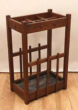 Antique Early 20thC Mission Arts & Crafts Quartered Oak Cane Umbrella Stand NR