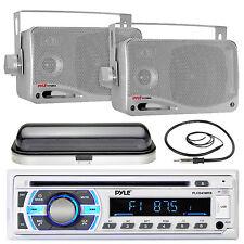 "Pyle USB Bluetooth Boat Radio, 3.5"" Box 200W Speakers,Marine Antenna,Radio Cover"
