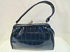 Vintage Navy Handbag. Hilmar Manchester. Faux Alligator / Crocodile. LIttle Use