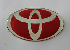 TOYOTA Sticker/Decal - Chrome on Red 60mm x 38mm HIGH GLOSS DOMED GEL FINISH