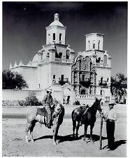 1953 Original Photo cowgirl cowboy on horses outside Mission San Xavier del Bac