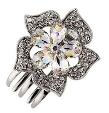 Hair Clip Claw using Swarovski Crystal Hairpin Flower Bridal Wedding Silver AB 6
