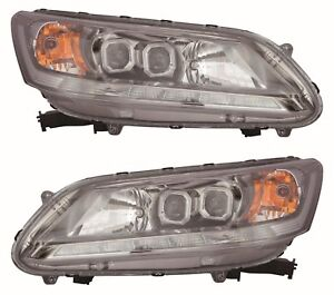 FITS HONDA ACCORD SEDAN 4DR 2013-2015 LED HEADLIGHTS HEAD LAMPS W/DRL TYPE PAIR