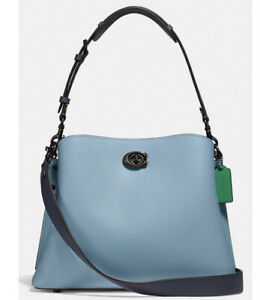 ❤️ Coach Willow C2590 Gunmetal/Azure Leather Shoulder Bag In Colorblock