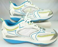 Skechers 12320 WBLG Women Size 9 SHAPE UPS Leather Shoes White Blue/Green