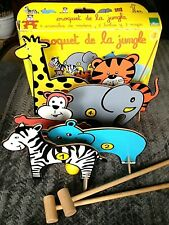 Vintage Childrens Wooden Outoor Game Jungle Animals CROQUET Age 3+