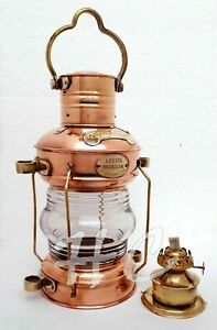 "Copper Anchor Oil Lamp Leeds Nautical 14 ""Ship Lantern Lamp"