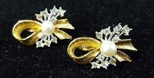 "Vintage Goldtone Ribbon Bow Faux Pearl Rhinestone Clip Earrings 1"""