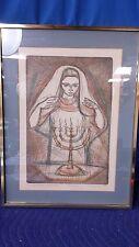 "Signed Artist Proof Irving Amen ""Sabbath Blessing"" Jewish Shabbat Matted Framed"