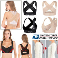 Women Adjust Shoulder Back Posture Corrector Chest Brace Up Support Belt Vest US